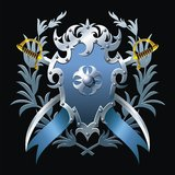 Μπλε οικόσημο απεικόνιση αποθεμάτων