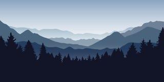 Μπλε ομιχλώδες βουνό και δασικό τοπίο φύσης διανυσματική απεικόνιση