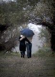 μπλε ομπρέλα Στοκ Φωτογραφίες