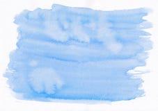 Μπλε οριζόντιο χέρι κλίσης watercolor ουρανού που σύρεται backgroun Στοκ Εικόνες
