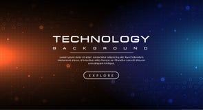 Μπλε ουρανός εμβλημάτων τεχνολογίας και πορτοκαλιά έννοια υποβάθρου με τα ελαφριά αποτελέσματα απεικόνιση αποθεμάτων