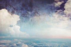 Μπλε ουρανός και σύννεφα, εικόνα στο ύφος κινούμενων σχεδίων watercolor Στοκ Εικόνες