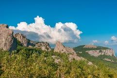 Μπλε ουρανός με τα σύννεφα πέρα από τα της Κριμαίας βουνά ο ναός της The Sun Κριμαία στοκ εικόνες