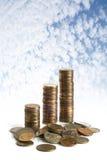 μπλε ουρανός νομισμάτων Στοκ Φωτογραφίες
