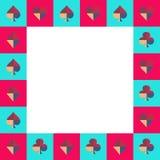 Μπλε ουρανός πινάκων σκακιού κοστουμιών καρτών και ρόδινα σύνορα επίσης corel σύρετε το διάνυσμα απεικόνισης ελεύθερη απεικόνιση δικαιώματος