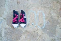 Μπλε πάνινα παπούτσια παιδιών με τους ρόδινους δεσμούς στοκ εικόνα με δικαίωμα ελεύθερης χρήσης