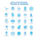 Μπλε πακέτο εικονιδίων τόνου ταξιδιού και τουρισμού - 25 σύνολα εικονιδίων ελεύθερη απεικόνιση δικαιώματος