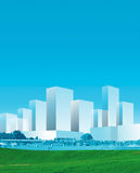 μπλε πανόραμα πόλεων απεικόνιση αποθεμάτων