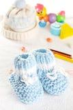 μπλε παπούτσια μωρών Στοκ Φωτογραφία