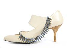 μπλε παπούτσια χαντρών Στοκ Φωτογραφίες