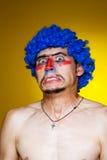 μπλε περούκα κλόουν Στοκ Εικόνες