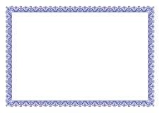 Μπλε πιστοποιητικό της floral διακόσμησης συνόρων εκτίμησης διανυσματική απεικόνιση