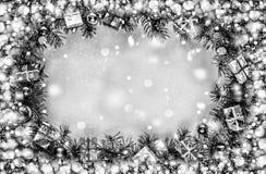 μπλε πλαίσιο Χριστουγέν&nu πλαίσιο, σαμπάνια, χρυσό αστέρι, δώρο, Στοκ Φωτογραφίες