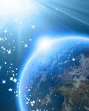 Μπλε πλανήτης Γη στο μακρινό διάστημα Στοκ Φωτογραφία