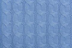Μπλε πλεκτή σύσταση υφάσματος Στοκ Εικόνες