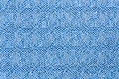 Μπλε πλεκτή σύσταση υφάσματος Στοκ Εικόνα