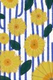 Μπλε, πορτοκάλι, κίτρινος, άσπρος και πράσινος μπλε sttripes και κίτρινοι κύκλοι Στοκ Φωτογραφίες