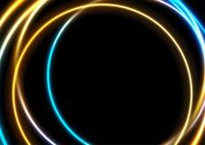 Μπλε πορτοκαλί αφηρημένο υπόβαθρο κύκλων νέου καμμένος απεικόνιση αποθεμάτων