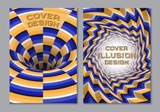 Μπλε πορτοκαλί πρότυπο σχεδίου κάλυψης βιβλίων χρώματος σχεδίου με τα οπτικά στοιχεία παραίσθησης κινήσεων Στοκ φωτογραφία με δικαίωμα ελεύθερης χρήσης