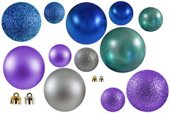 Μπλε πορφυρές σφαίρες ασημιών και Χριστουγέννων Aqua Στοκ Εικόνες