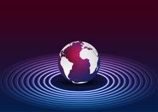 Μπλε πορφυρό υπόβαθρο τεχνολογίας κύκλων σφαιρών και νέου ελεύθερη απεικόνιση δικαιώματος