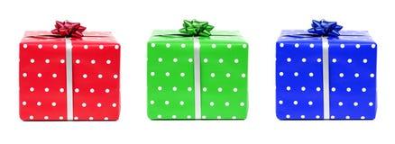 μπλε πράσινο κόκκινο δώρων Στοκ Εικόνα