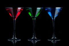 μπλε πράσινο martini γυαλιών κόκ& Στοκ Εικόνα