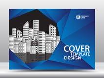 Μπλε πρότυπο κάλυψης για την επιχειρησιακή βιομηχανία, ακίνητη περιουσία, κτήριο, σπίτι, μηχανήματα Οριζόντιο σχεδιάγραμμα, ιπτάμ ελεύθερη απεικόνιση δικαιώματος