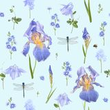 Μπλε πρότυπο λουλουδιών Στοκ Εικόνες