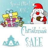 Μπλε πρότυπο πώλησης Άγιου Βασίλη Χριστουγέννων απεικόνιση αποθεμάτων