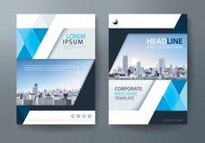 Μπλε πρότυπο σχεδίου ιπτάμενων φυλλάδιων ετήσια εκθέσεων, κάλυψη φυλλάδιων διανυσματική απεικόνιση