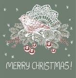 Μπλε ροζ παραδοσιακή διανυσματική κάρτα Χριστουγέννων δέντρων σφαιρών ντεκόρ πουλιών διανυσματική απεικόνιση