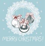 Μπλε ροζ παραδοσιακή διανυσματική κάρτα Χριστουγέννων σφαιρών δέντρων απεικόνιση αποθεμάτων