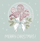Μπλε ροζ παραδοσιακή διανυσματική κάρτα Χριστουγέννων τόξων καραμελών Lollipop διανυσματική απεικόνιση