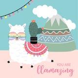 Μπλε ροζ συρμένη χέρι χαριτωμένη κάρτα με llama, το λουλούδι, το φως, το βουνό και το σύννεφο  διανυσματική απεικόνιση