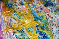 Μπλε ρόδινα χρυσά ασημένια κτυπήματα, ζωηρό υπόβαθρο κρητιδογραφιών watercolor, σύσταση Στοκ φωτογραφία με δικαίωμα ελεύθερης χρήσης