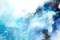 Μπλε ρόδινες πορφυρές σταγόνες σταλαγματιών λεκέδων Watercolor Αφηρημένη απεικόνιση watercolour διανυσματική απεικόνιση