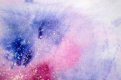 Μπλε ρόδινες πορφυρές σταγόνες σταλαγματιών λεκέδων Watercolor Αφηρημένη απεικόνιση watercolour στοκ εικόνες με δικαίωμα ελεύθερης χρήσης
