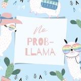 Μπλε ρόδινο συρμένο χέρι χαριτωμένο πλαίσιο με llama, γυαλιά, κάκτος, στο s διανυσματική απεικόνιση