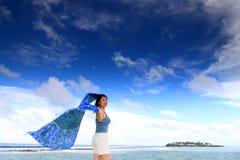 μπλε σάλι κυματισμού Στοκ Φωτογραφία