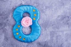 Μπλε σατέν αριθμός οκτώ Στοκ Εικόνα