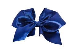 μπλε σατέν δώρων τόξων κορδέλλα Απομονωμένος στο λευκό Στοκ Εικόνες
