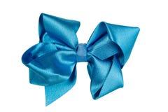 μπλε σατέν τόξων Απομονώστε στο λευκό Στοκ εικόνα με δικαίωμα ελεύθερης χρήσης