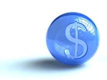μπλε σημάδι δολαρίων σφα&iota Στοκ Εικόνα