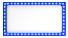 Μπλε σημάδι πινάκων σκηνών ελαφρύ αναδρομικό στο άσπρο υπόβαθρο τρισδιάστατη απόδοση απεικόνιση αποθεμάτων