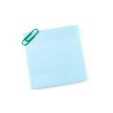 Μπλε σημείωση εγγράφου με έναν πράσινο συνδετήρα Στοκ φωτογραφίες με δικαίωμα ελεύθερης χρήσης