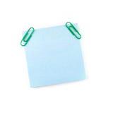 Μπλε σημείωση εγγράφου με τους πράσινους συνδετήρες Στοκ εικόνες με δικαίωμα ελεύθερης χρήσης