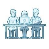 Μπλε σκίαση σκιαγραφιών χρώματος της ομαδικής εργασίας της γυναίκας και των ανδρών που κάθονται στο γραφείο με τις συσκευές τεχνο διανυσματική απεικόνιση