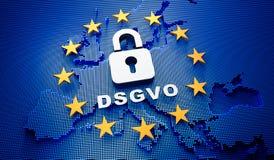 Μπλε σκηνικό της Ευρώπης DSGVO - τρισδιάστατη απεικόνιση ελεύθερη απεικόνιση δικαιώματος
