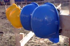 μπλε σκληρό καπέλο κίτριν&omic Στοκ Εικόνες